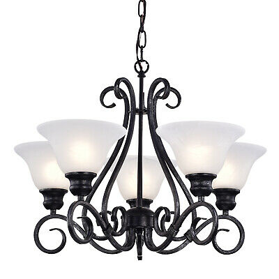 5 Light Classic Black Iron Hanging Chandelier Ceiling Fixture