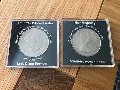 1980 Coins ROYAL WEDDING CHARLES & LADY DIANA & Queen Mother's 80th Birthday x2