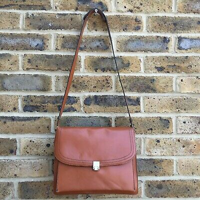 Vintage Tan Brown Leather Satchel Handbag Womens Shoulder Side Clasp Bag Small