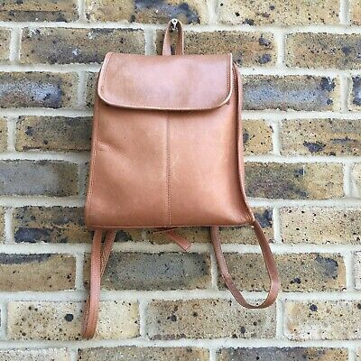 Vintage Tan Brown Leather Wilson Backpack Small Pocket Purse Bag Rucksack Womens