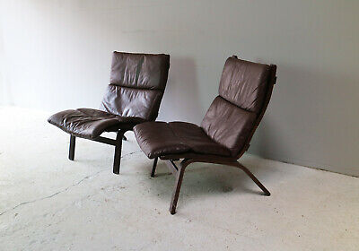 1960's Danish mid century leather lounge chair (2 available)