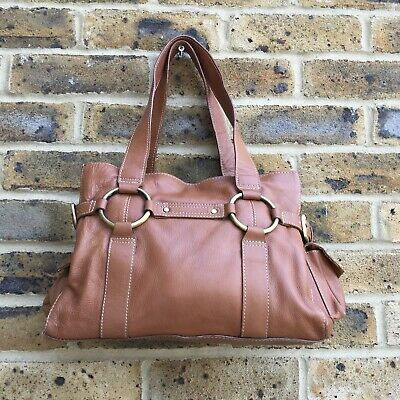 TOMMY & KATE Tan Brown Leather Shoulder Side Handbag Hobo Medium Magnet Closure