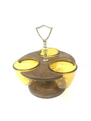 Vtg MCM Westwood Thermo Serv Relish and Condiment Set Trio Faux Wood Amber NEW