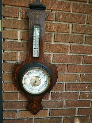 Antique Wall Barometer / English Make / Marquerty Inlay MADE IN ENGLAND