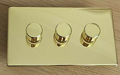 Push on/off Trailing Edge LED dimmer switch 3 gang 1&2 way Flat Polished Brass