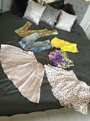 Size 10-12 Women's Clothes Bundle Skinny Jeans Skirt Top All In One Leotard