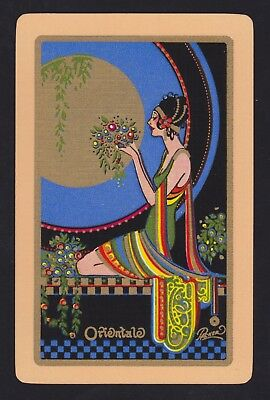 1 Single VINTAGE Swap/Playing Card USNN DECO FLAPPER LADY 'ORIENTALE OR-2-1-A'