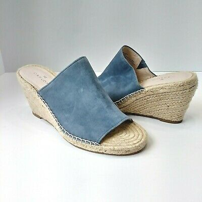 4523fc9bcac CASLON NORDSTROM SALLY Blue Suede Leather Wedge Jute Sandals Espadrilles  7.5M