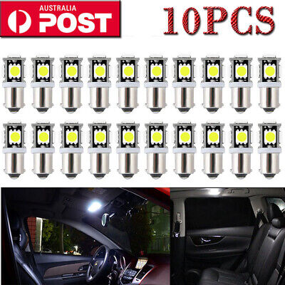 10 Pcs Ba9S Bayonet Led Light Bulb 5Smd 5050 White Parker 12V Car Globe Interior