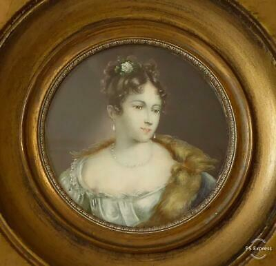 Finely Painted Antique 19Th Century Portrait Miniature Of A Young Lady