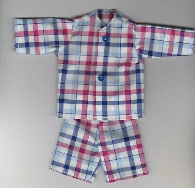 NEW ITEM-Homemade Doll Clothes-Red White,Blue Stripe Button Pajamas fit Ken KP7
