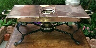 Antique Arts & Crafts Copper & Iron Hot Plate Food Warmer 42 x 20 x 16 cms
