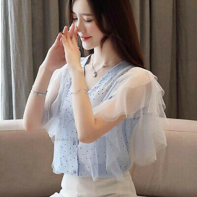 Fashion Women Summer V Neck Lace Ruffle Sleeve Casual OL Loose Shirt Blouse Tops
