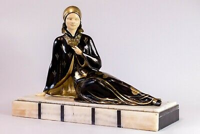 1920 CHRYSELEPHANTINE ART DECO SCULPTURE lady by MENNEVILLE. SIGNED