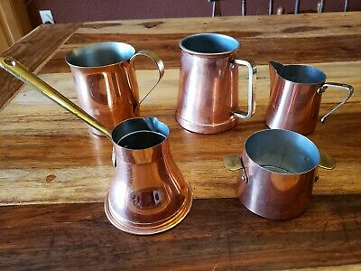 Vintage Lot of 5 Copper Plated cups w/ Brass Handles, includes A Tagus R. 44 Mug