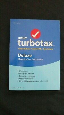 Genuine 2018 Intuit TurboTax Deluxe Federal & State Windows & Mac Max Deductions