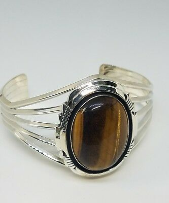 Running Bear RB Sterling Silver Tigers Eye Large Cuff Bracelet