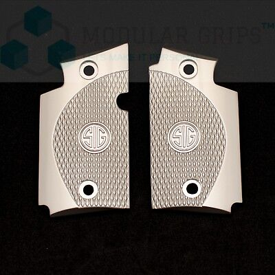 Fits Sig Sauer P938 Pistol Grips PEWTER  Checkered Grips Brushed Nickel