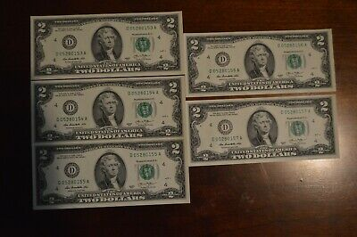 5 Uncirculated  Crisp $2 Notes Two Dollar Bill Consecutive Serial Number