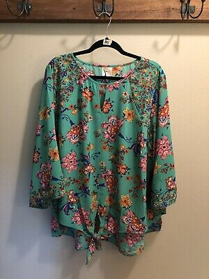 7f7fec20006db0 Anthropologie fig & flower Woman's 3X Vibrant Green/Pink/Blue/Rust Floral  Blouse