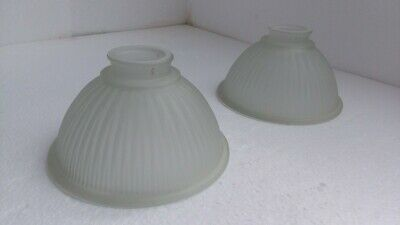 Ribbed Glass Dome Light Shade Holophane Frosted Retro Vintage Industrial Style