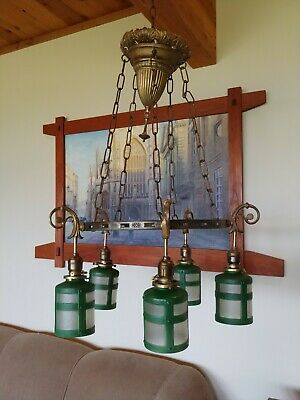 Arts & Crafts/mission Brass chandelier,light fixture,antique,sconce,lamp #14