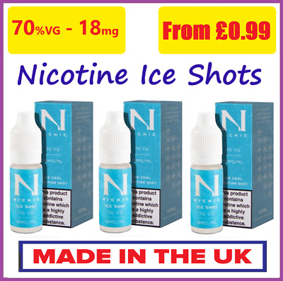 Ice Nic Shots 18mg/ml - 10ml by NicNic Nicotine Shots 70%VG Cloud Chaser Premium