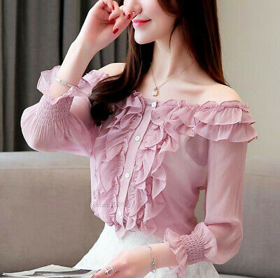 Fashion Summer Women's Off Shoulder Ruffle Button Down Chiffon Shirt Blouse Tops