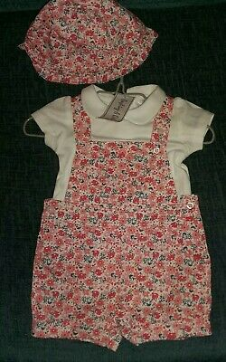 Baby Girls Romper Suit With Shirt And Sunhat 0-3month Pink Floral And White M&CO