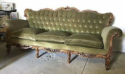 Antique sofa / Suite french Louis 14th style carved 3 piece suite 2 armchairs