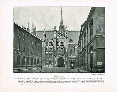 Guildhall Moorgate London Antique Old Picture Print c1896 TQL#120