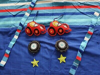 Mothercare Embroidered Cars pair of Curtains with tie backs