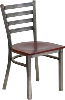 (10 PACK) Clear Coated Ladder Back Metal Restaurant Chair with Mahogany Wood