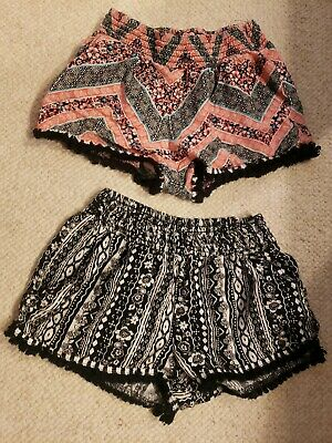 2 Pairs Patterned Girls Size Small Shorts Black/White Floral