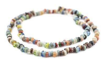 Baby Rondelle Mulitcolor Java Glass Beads 6mm Indonesia Multicolor Disk