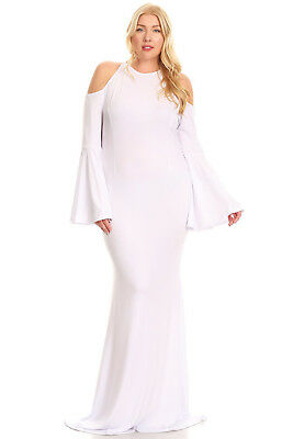 412edb6e1a20 Plus Size Bell Sleeve Hourglass Cutout Cold Shoulder Gown White Dress 1X