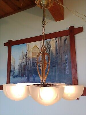 Antique Art Deco Glass Slip Shade Ceiling Chandelier 5 shade Lamp #18