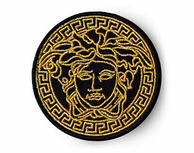 "2.25"" black VINTAGE MEDUSA LOGO Embroidered Iron On / Sew On Patch"