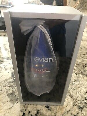 Evian Collector's Glass Bottle - From 2000 - Millenium Y2K With Display Box Tear