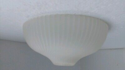 Holophane Glass Light Shade Dome Frosted Ribbed Swirl Semi Flush Vintage Scallop