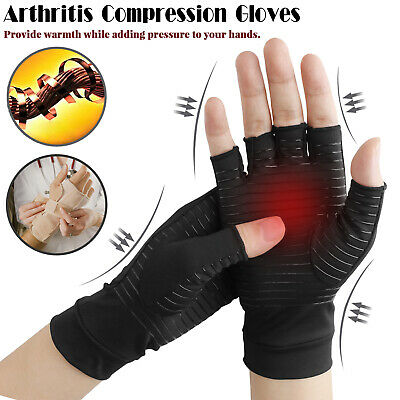 Copper Compression Fit Arthritis Gloves Joint Hands Carpal Wrist Support Brace