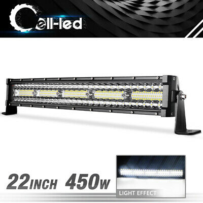 23 inch 450W LED Work Light Bar Curved Spot Flood Combo Truck 3 Triple Row 22""