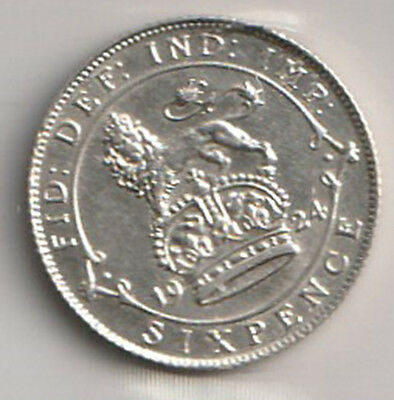 1924 UK - Great Britain - ICCS Graded 6 Pence Coin - AU-50