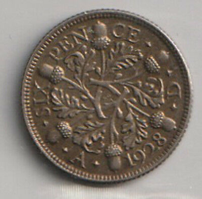 1928 UK - Great Britain - ICCS Graded 6-Pence (Sixpence) Coin - EF-45
