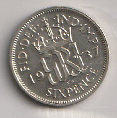 1937 UK - Great Britain - ICCS Graded 6-Pence (Sixpence) Coin - MS-63
