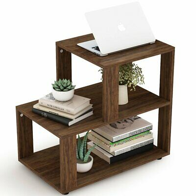 3Tier Night Stand with Storage Shelf Metal Frame Side Table for Living Room Home