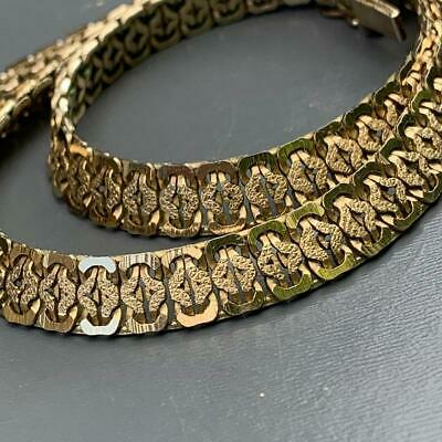 WIDE VTG Art Deco Gold Filled Woven Brick Chain Bookchain style Necklace