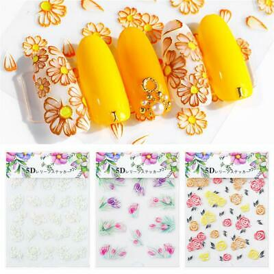 Nail Wrap Engraved Flower  Self Adhesive 3D Acrylic  Nail Embossed Stickers