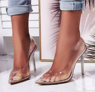 Ladies Perspex Clear Stiletto High Heel Shoes Women Casual Point-Toe Party Pumps