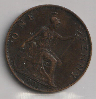 1901 UK - Great Britain - ICCS Graded Penny Coin - EF-40